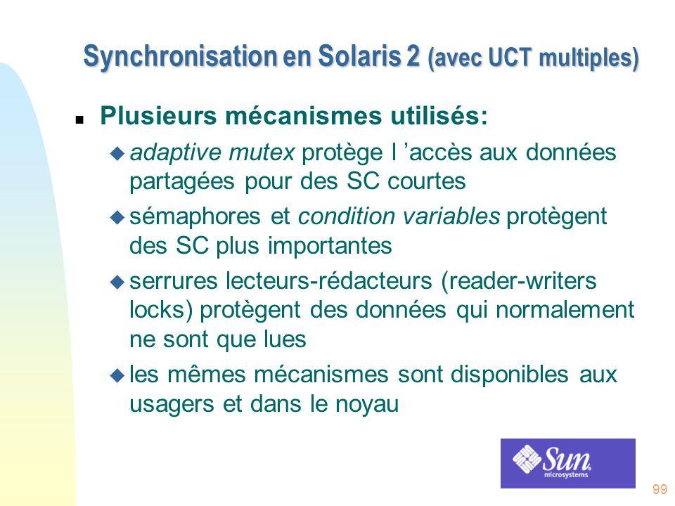 99 Synchronisation en Solaris 2 (avec UCT multiples) n Plusieurs mécanismes utilisés: u adaptive mutex protège l 'accès aux données partagées pour des