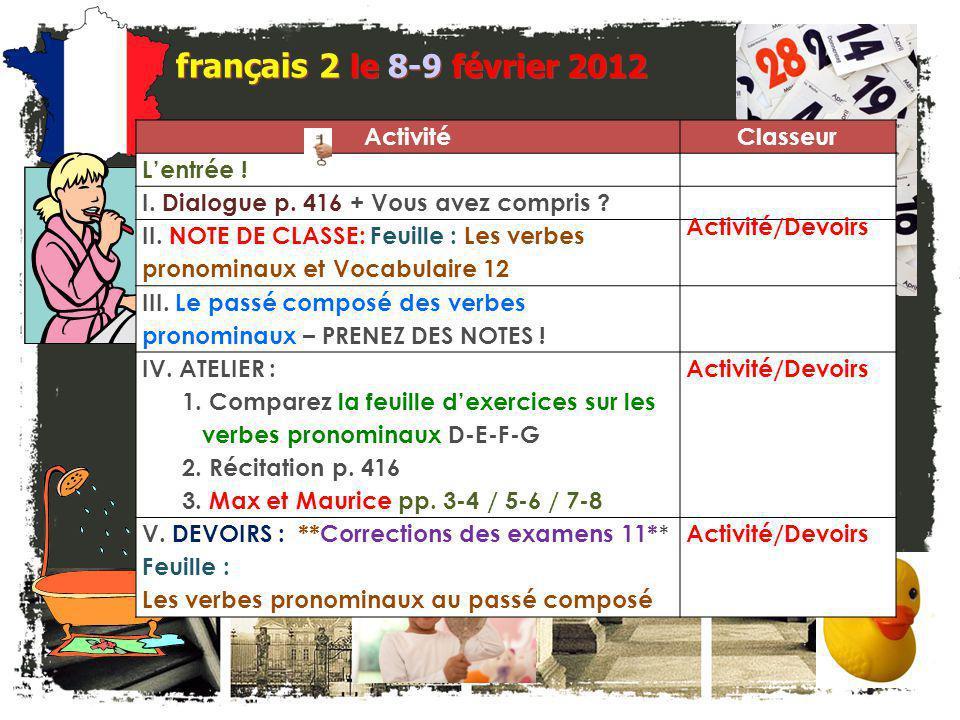 français 2 le 8-9 février 2012 ActivitéClasseur L'entrée .