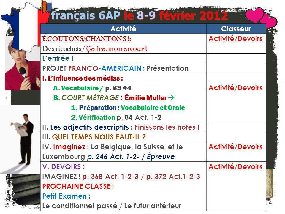 JE FAIS DES ANNONCES. français 2 / 5H / 6AP 1.