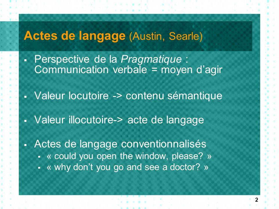 2 Actes de langage (Austin, Searle)  Perspective de la Pragmatique : Communication verbale = moyen d'agir  Valeur locutoire -> contenu sémantique 