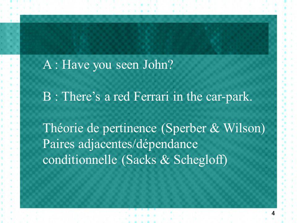 4 A : Have you seen John? B : There's a red Ferrari in the car-park. Théorie de pertinence (Sperber & Wilson) Paires adjacentes/dépendance conditionne