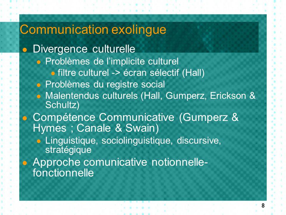 8 Communication exolingue Divergence culturelle Problèmes de l'implicite culturel filtre culturel -> écran sélectif (Hall) Problèmes du registre socia