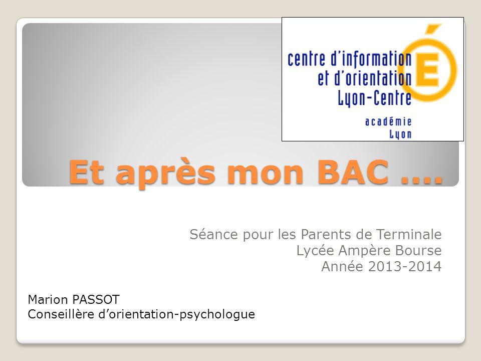 Et après mon BAC …. Séance pour les Parents de Terminale Lycée Ampère Bourse Année 2013-2014 Marion PASSOT Conseillère d'orientation-psychologue