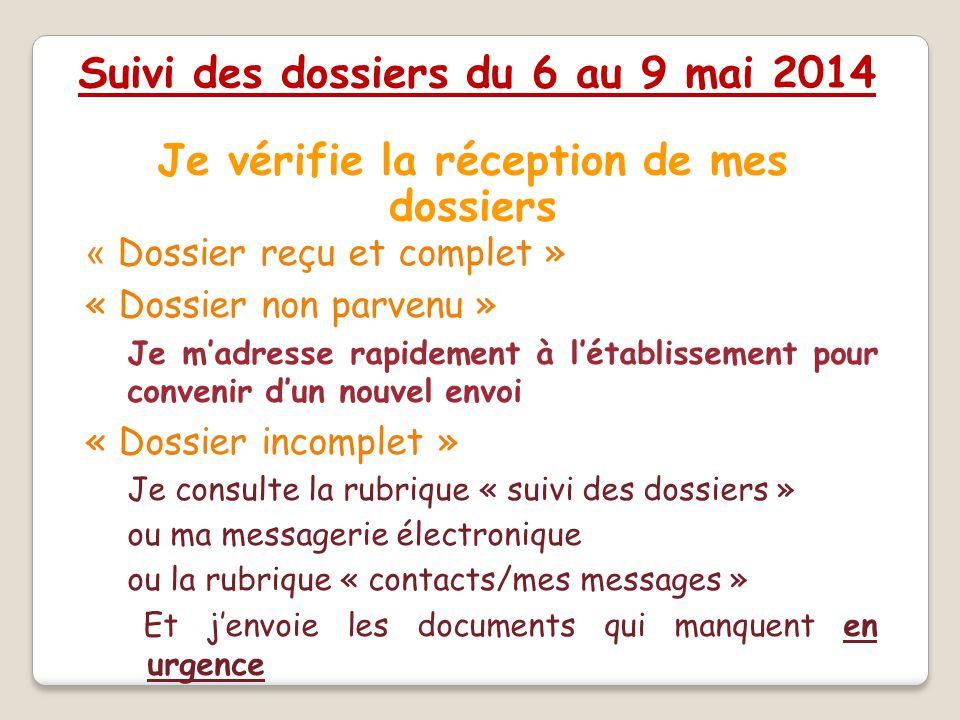 Je vérifie la réception de mes dossiers « Dossier reçu et complet » « Dossier non parvenu » – Je m'adresse rapidement à l'établissement pour convenir