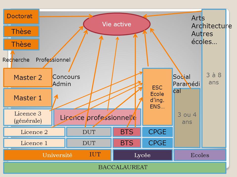 BACCALAUREAT Université DUT IUT Licence 1 Licence 2 Licence 3 (générale) Licence professionnelle Master 1 Master 2 Thèse Doctorat LycéeEcoles BTS CPGE