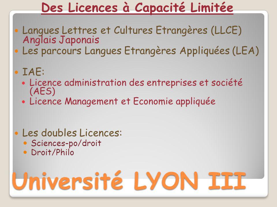 Université LYON III Des Licences à Capacité Limitée Langues Lettres et Cultures Etrangères (LLCE) Anglais Japonais Les parcours Langues Etrangères App