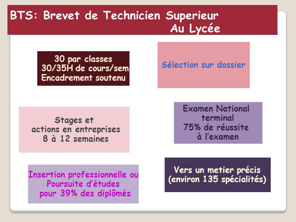 Sélection sur dossier Insertion professionnelle ou Poursuite d'études pour 39% des diplômés BTS: Brevet de Technicien Superieur Au Lycée 30 par classe