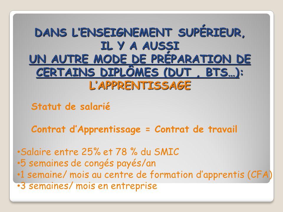DANS L'ENSEIGNEMENT SUPÉRIEUR, IL Y A AUSSI UN AUTRE MODE DE PRÉPARATION DE CERTAINS DIPLÔMES (DUT, BTS…): L'APPRENTISSAGE Statut de salarié Contrat d