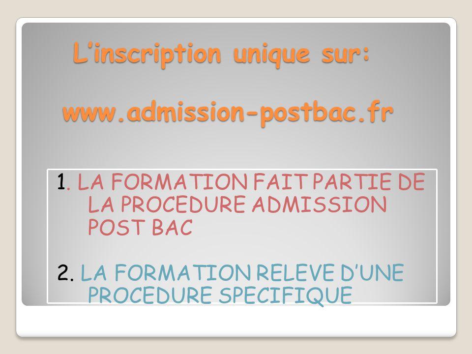 L'inscription unique sur: www.admission-postbac.fr 1. LA FORMATION FAIT PARTIE DE LA PROCEDURE ADMISSION POST BAC 2. LA FORMATION RELEVE D'UNE PROCEDU