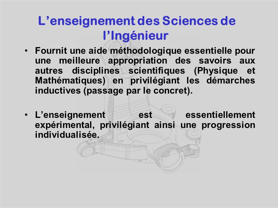 L'enseignement des Sciences de l'Ingénieur Fournit une aide méthodologique essentielle pour une meilleure appropriation des savoirs aux autres disciplines scientifiques (Physique et Mathématiques) en privilégiant les démarches inductives (passage par le concret).