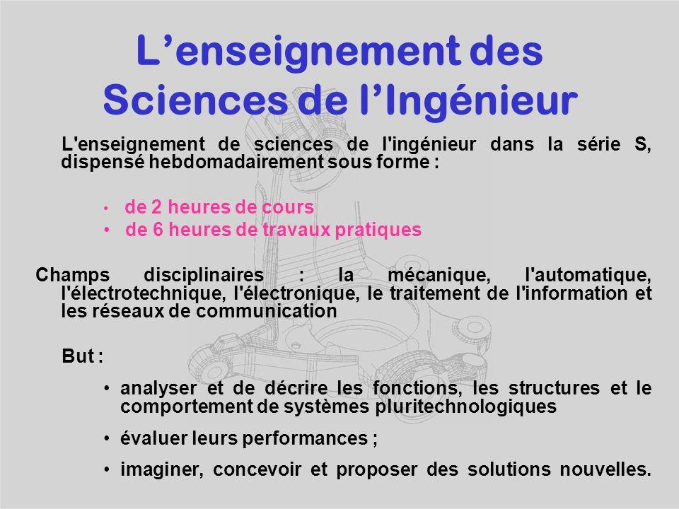 L'enseignement des Sciences de l'Ingénieur Fournit une aide méthodologique essentielle pour une meilleure appropriation des savoirs aux autres discipl