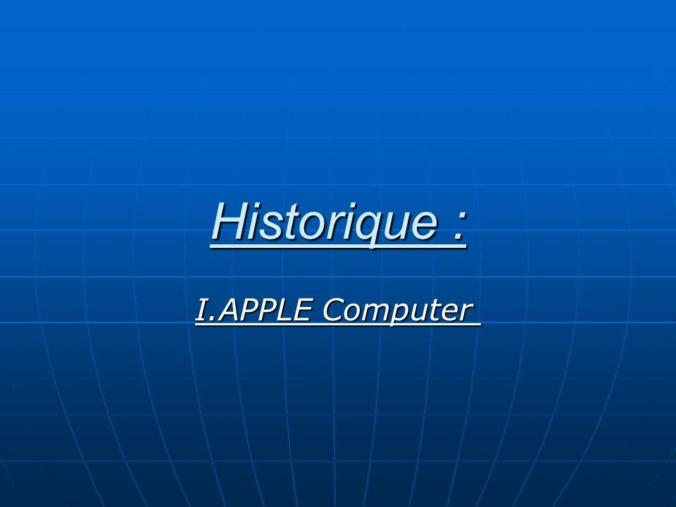 Historique : I.APPLE Computer I.APPLE Computer