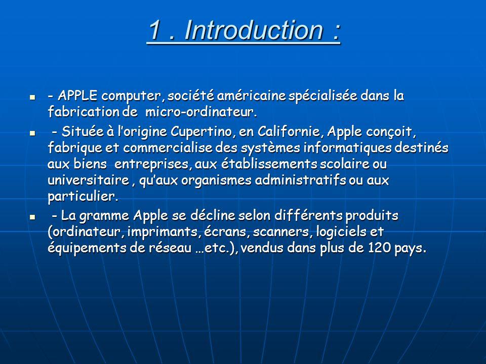 1. Introduction : - APPLE computer, société américaine spécialisée dans la fabrication de micro-ordinateur. - APPLE computer, société américaine spéci