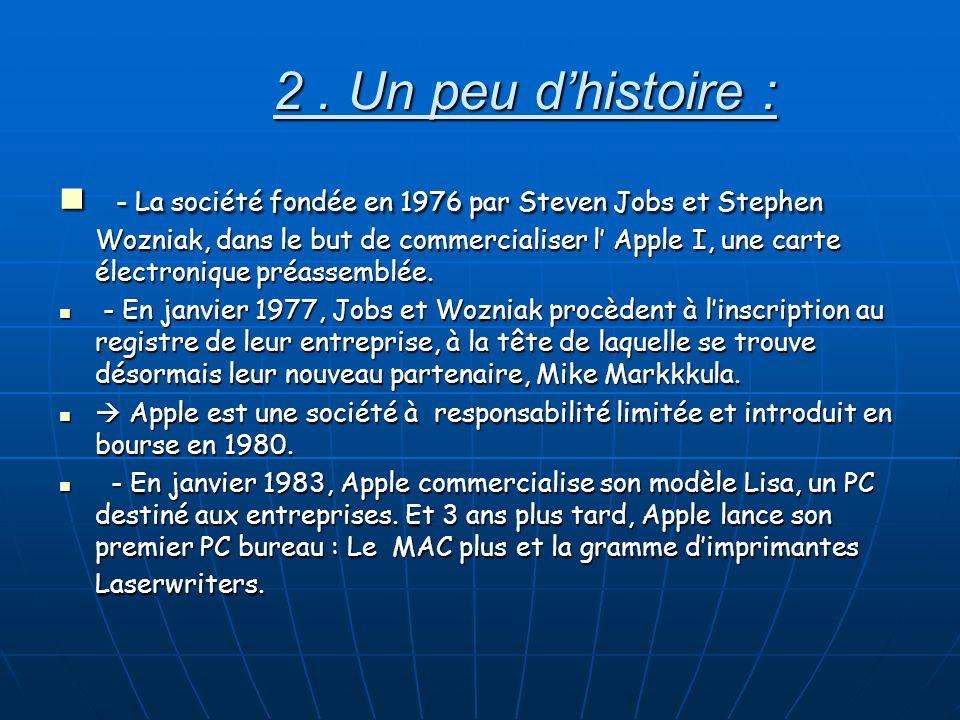 2. Un peu d'histoire : 2. Un peu d'histoire : - La société fondée en 1976 par Steven Jobs et Stephen Wozniak, dans le but de commercialiser l' Apple I