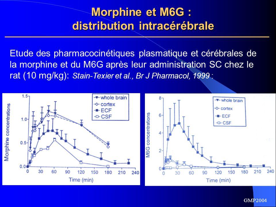 GMP2004 MorphineM6G AUC LECC/plasma, fu 0,510,56 AUC LICC/LECC 40,008 Accumulation intracellulaire de morphine Accumulation extracellulaire de M6G Morphine et M6G : distribution intracérébrale