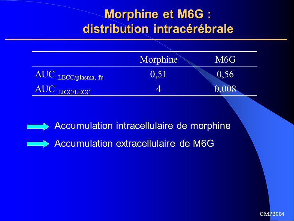 GMP2004 Morphine et M6G : distribution intracérébrale et transporteurs MICRODIALYSE CÉRÉBRALE HORIZONTALE CHEZ LE RAT Rétrodialyse : Morphine et M6G perfusés à débit et concentration constants dans la sonde de microdialyse.