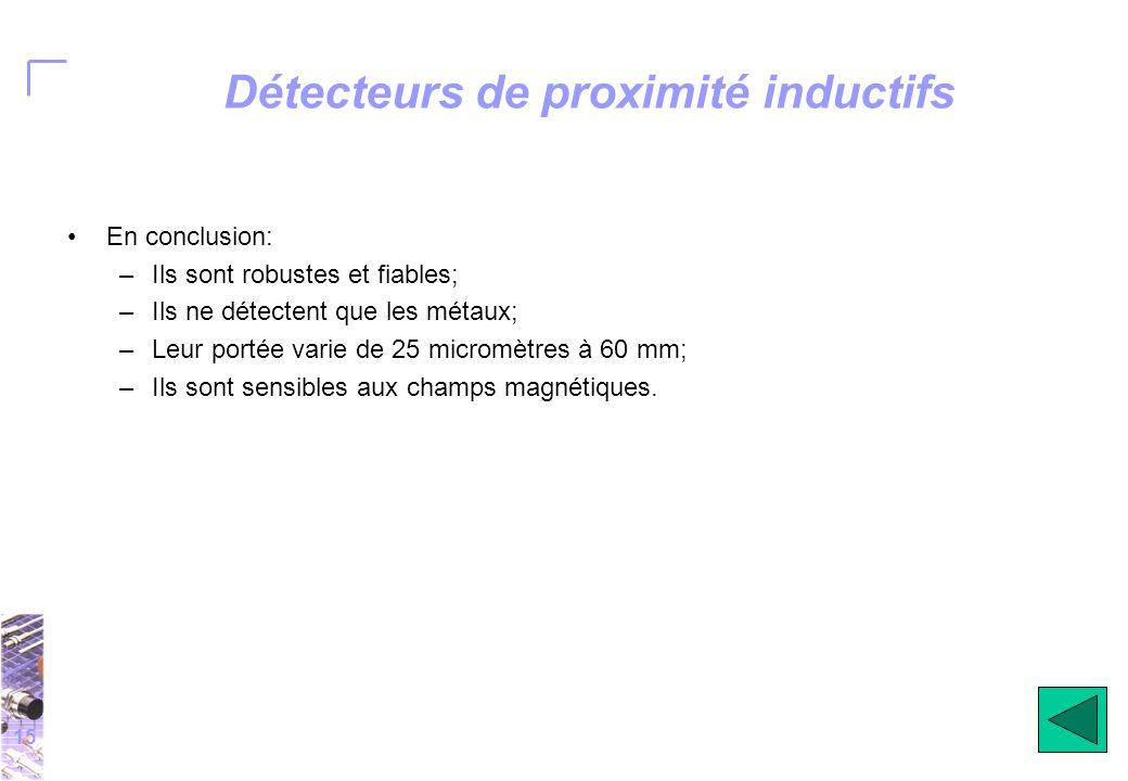15 Détecteurs de proximité inductifs En conclusion: –Ils sont robustes et fiables; –Ils ne détectent que les métaux; –Leur portée varie de 25 micromètres à 60 mm; –Ils sont sensibles aux champs magnétiques.