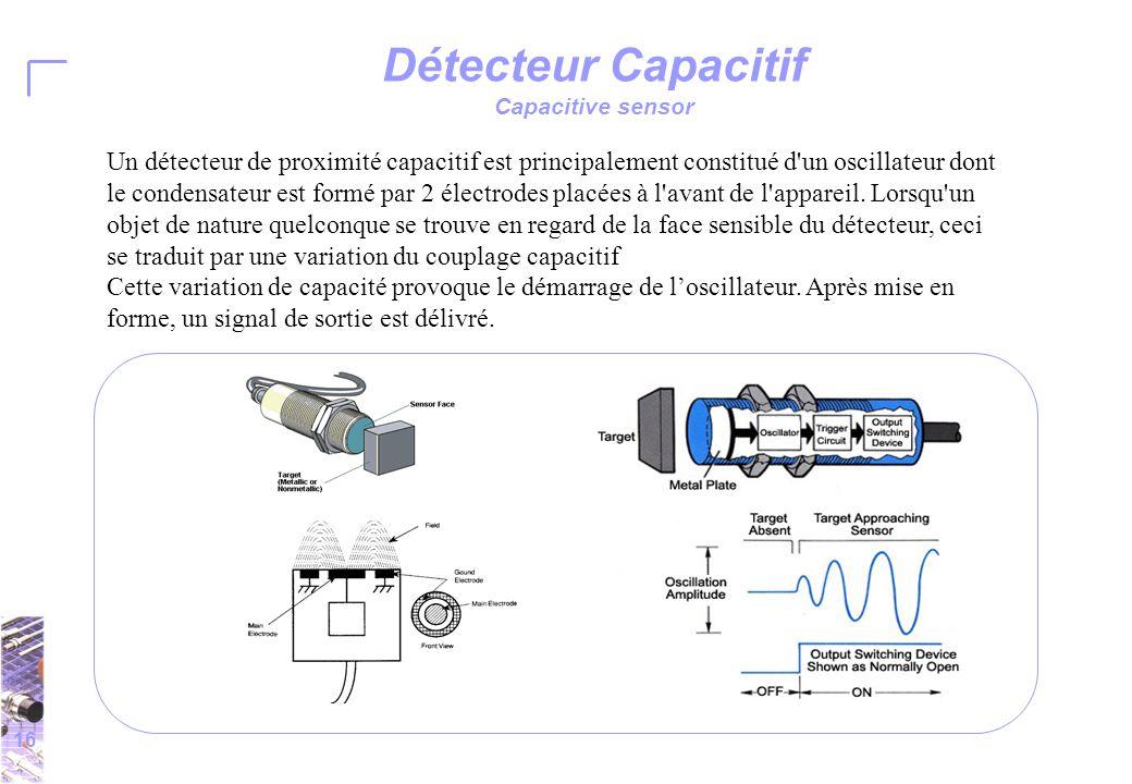 16 Détecteur Capacitif Capacitive sensor Un détecteur de proximité capacitif est principalement constitué d un oscillateur dont le condensateur est formé par 2 électrodes placées à l avant de l appareil.