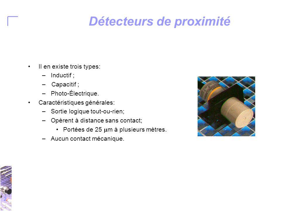 2 Détecteurs de proximité Il en existe trois types: –Inductif ; –Capacitif ; –Photo-Électrique.