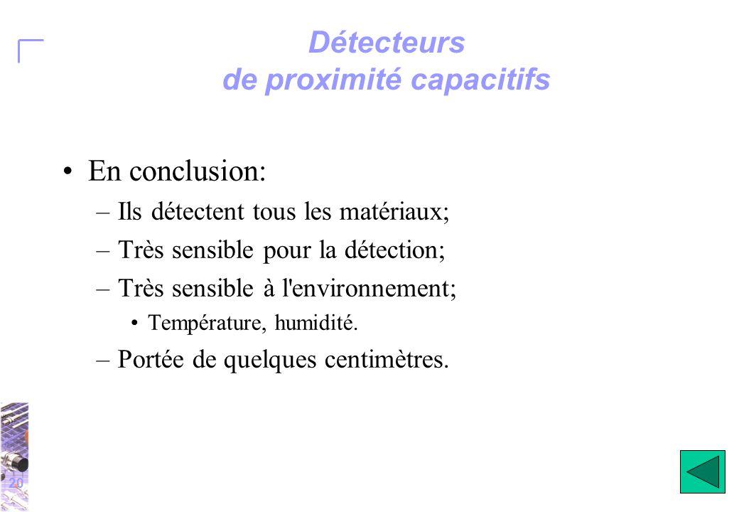 20 Détecteurs de proximité capacitifs En conclusion: –Ils détectent tous les matériaux; –Très sensible pour la détection; –Très sensible à l environnement; Température, humidité.