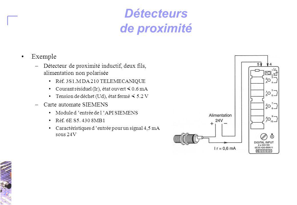 22 Détecteurs de proximité Exemple –Détecteur de proximité inductif, deux fils, alimentation non polarisée Réf.