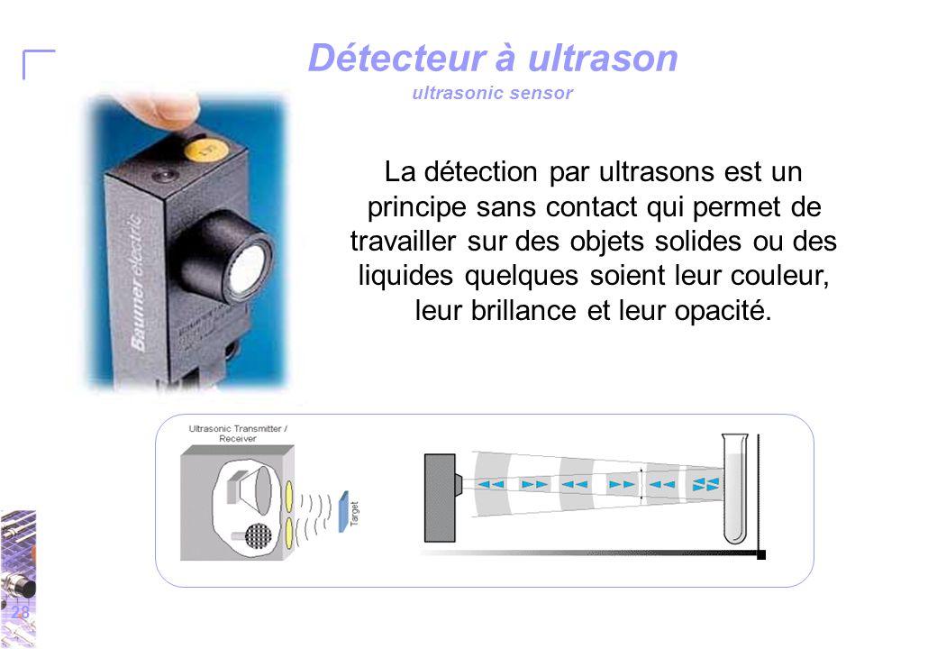 28 La détection par ultrasons est un principe sans contact qui permet de travailler sur des objets solides ou des liquides quelques soient leur couleur, leur brillance et leur opacité.