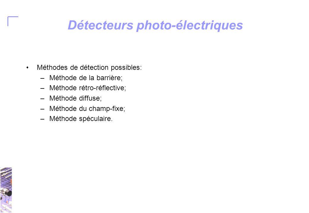 41 Détecteurs photo-électriques Méthodes de détection possibles: –Méthode de la barrière; –Méthode rétro-réflective; –Méthode diffuse; –Méthode du champ-fixe; –Méthode spéculaire.