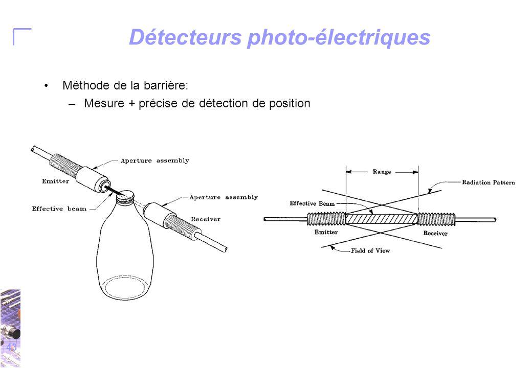 43 Détecteurs photo-électriques Méthode de la barrière: –Mesure + précise de détection de position