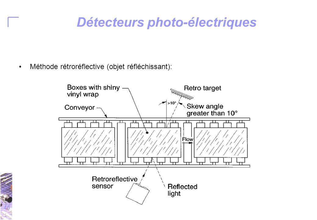 46 Détecteurs photo-électriques Méthode rétroréflective (objet réfléchissant):