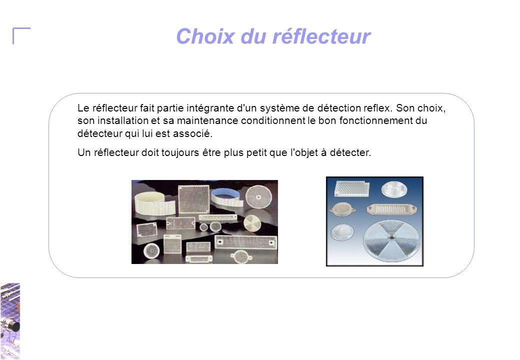 47 Choix du réflecteur Le réflecteur fait partie intégrante d un système de détection reflex.