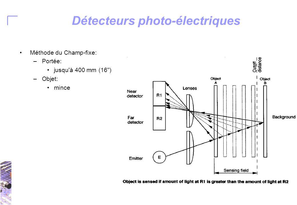 50 Détecteurs photo-électriques Méthode du Champ-fixe: –Portée: jusqu à 400 mm (16 ) –Objet: mince