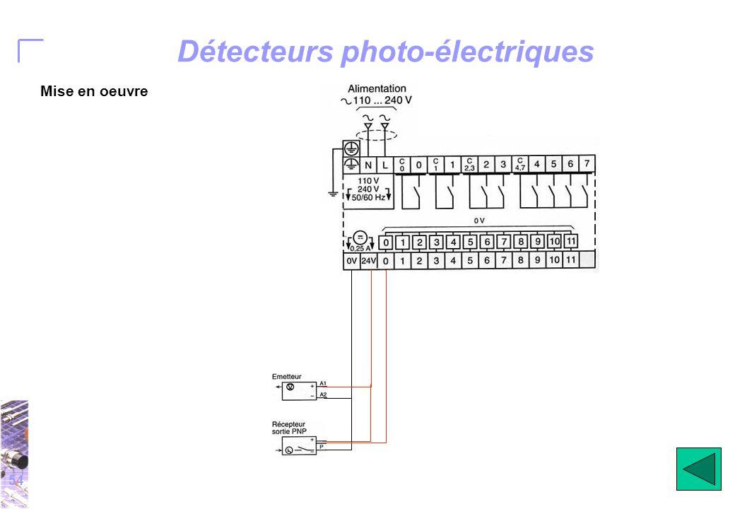 54 Détecteurs photo-électriques Mise en oeuvre