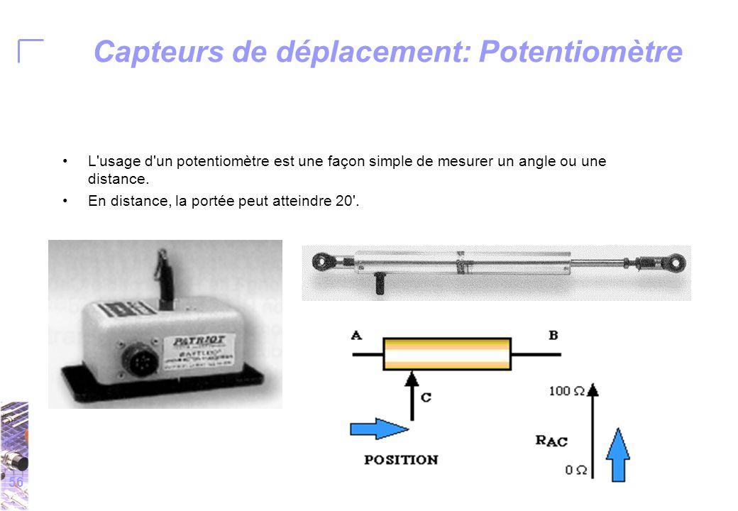 56 Capteurs de déplacement: Potentiomètre L usage d un potentiomètre est une façon simple de mesurer un angle ou une distance.