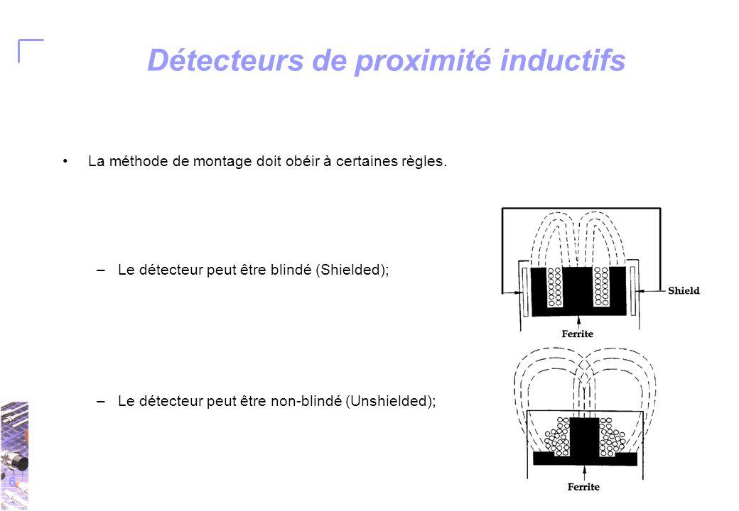 6 Détecteurs de proximité inductifs La méthode de montage doit obéir à certaines règles.