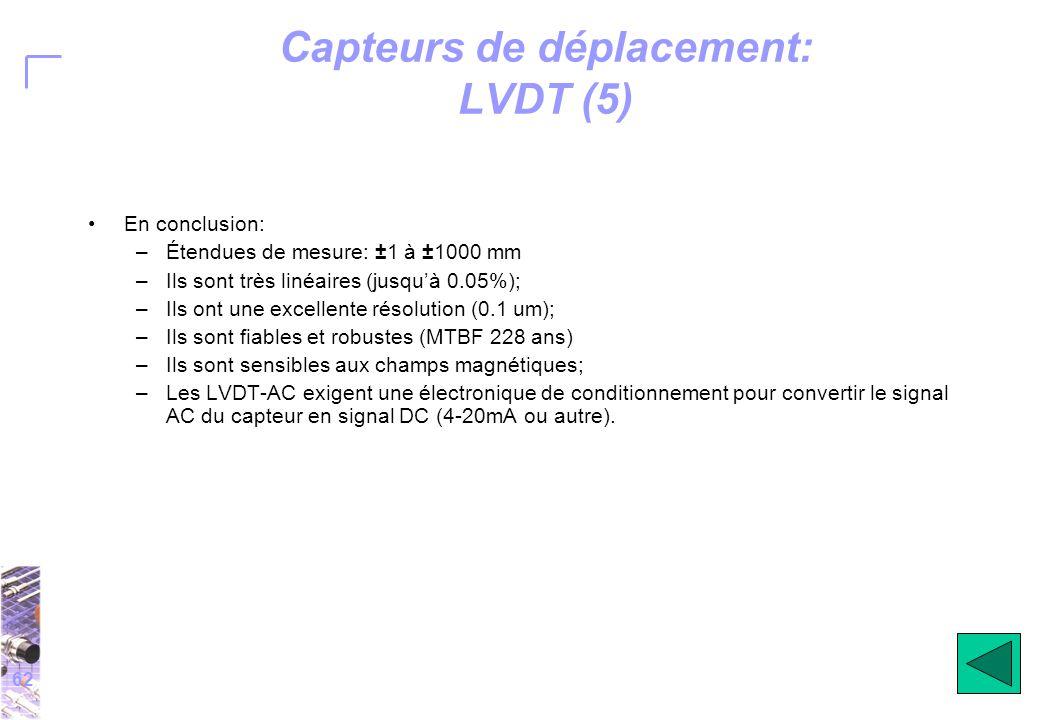 62 Capteurs de déplacement: LVDT (5) En conclusion: –Étendues de mesure: ±1 à ±1000 mm –Ils sont très linéaires (jusqu'à 0.05%); –Ils ont une excellente résolution (0.1 um); –Ils sont fiables et robustes (MTBF 228 ans) –Ils sont sensibles aux champs magnétiques; –Les LVDT-AC exigent une électronique de conditionnement pour convertir le signal AC du capteur en signal DC (4-20mA ou autre).