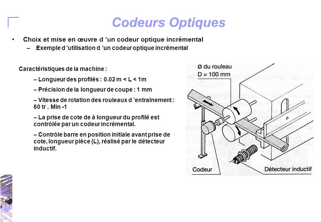 66 Codeurs Optiques Choix et mise en œuvre d 'un codeur optique incrémental –Exemple d 'utilisation d 'un codeur optique incrémental Caractéristiques de la machine : – Longueur des profilés : 0.02 m < L < 1m – Précision de la longueur de coupe : 1 mm – Vitesse de rotation des rouleaux d 'entraînement : 60 tr.