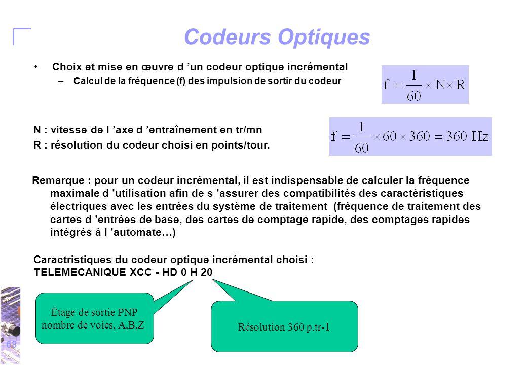 68 Codeurs Optiques Choix et mise en œuvre d 'un codeur optique incrémental –Calcul de la fréquence (f) des impulsion de sortir du codeur N : vitesse de l 'axe d 'entraînement en tr/mn R : résolution du codeur choisi en points/tour.
