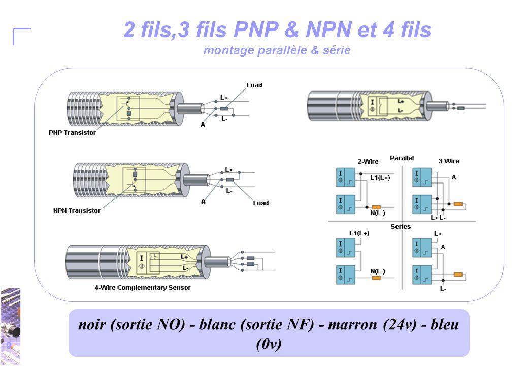 9 2 fils,3 fils PNP & NPN et 4 fils montage parallèle & série noir (sortie NO) - blanc (sortie NF) - marron (24v) - bleu (0v)