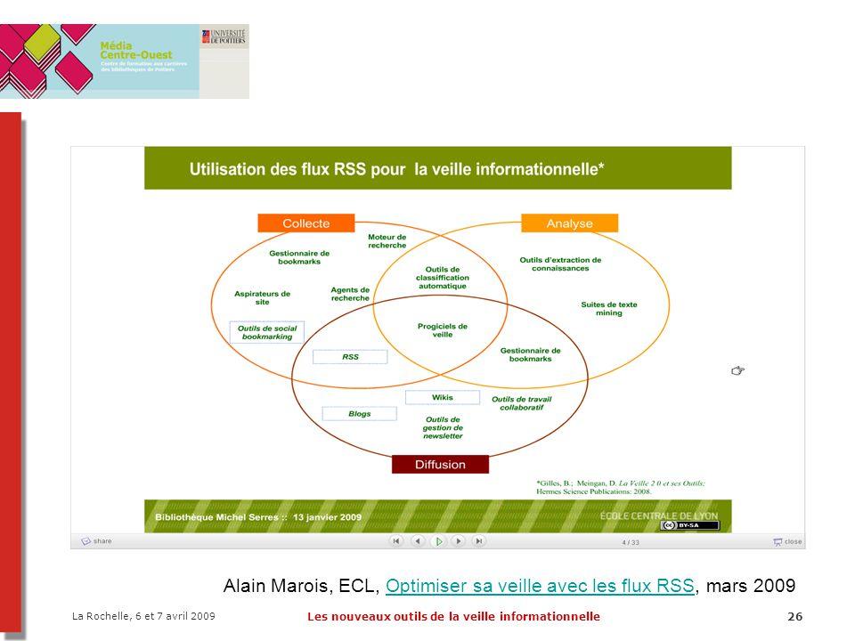 La Rochelle, 6 et 7 avril 2009 Les nouveaux outils de la veille informationnelle26 Alain Marois, ECL, Optimiser sa veille avec les flux RSS, mars 2009