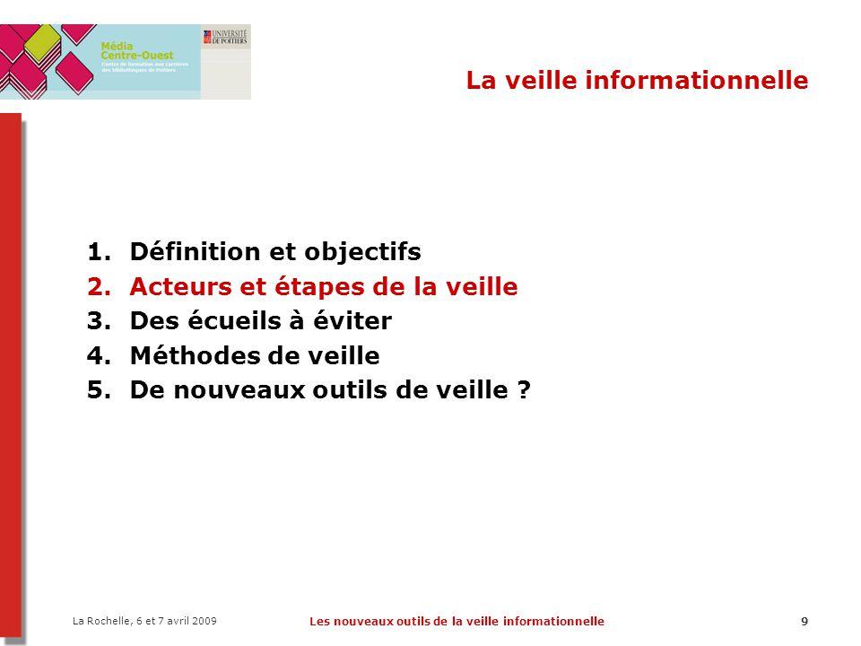 La Rochelle, 6 et 7 avril 2009 Les nouveaux outils de la veille informationnelle20 La veille informationnelle - Méthodes de veille Méthode PUSH Moyens/outils –Alertes par mail : certains catalogues de bibliothèques, éditeurs, BD bibliogr., etc.