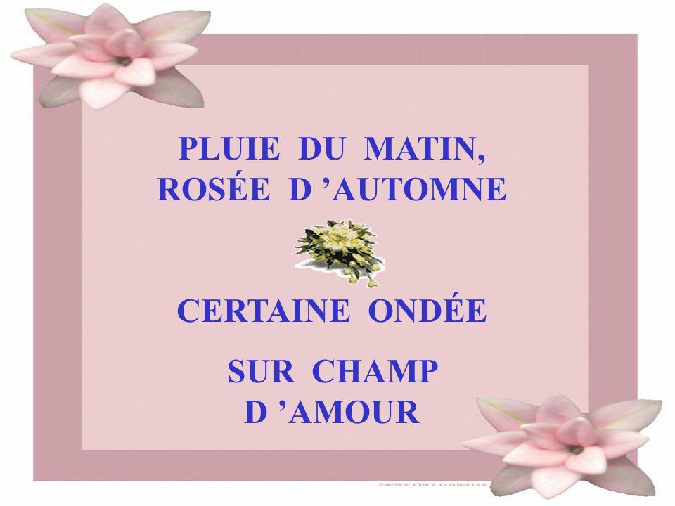 PLUIE DU MATIN, ROSÉE D 'AUTOMNE CERTAINE ONDÉE SUR CHAMP D 'AMOUR