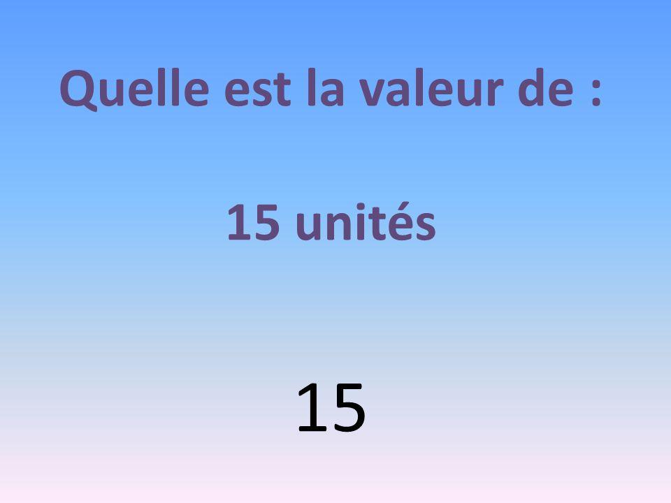 Quelle est la valeur de : 15 unités 15