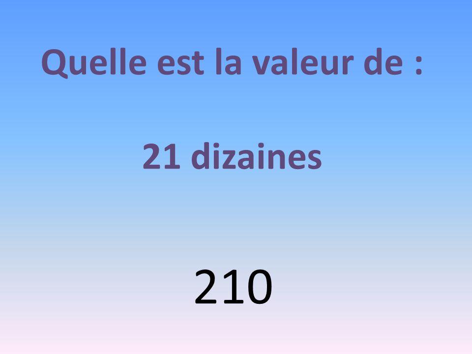 Quelle est la valeur de : 21 dizaines 210