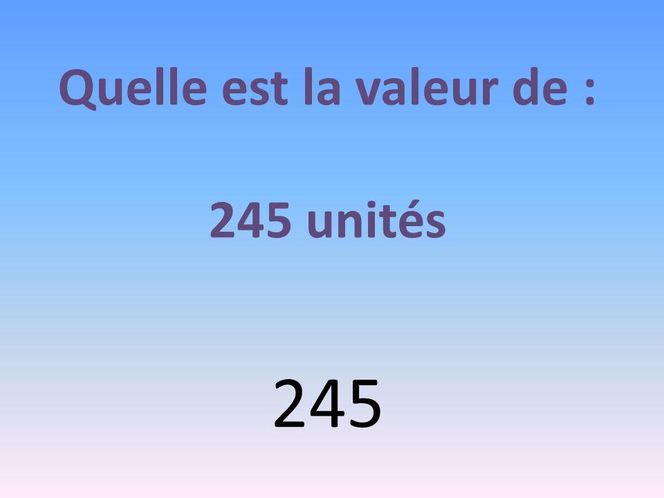 Quelle est la valeur de : 245 unités 245