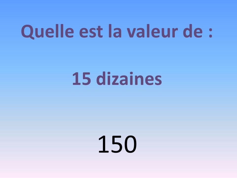 Quelle est la valeur de : 15 dizaines 150