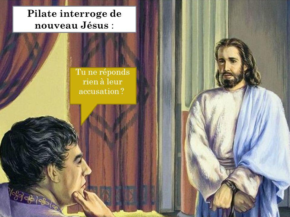 Tu ne réponds rien à leur accusation ? Pilate interroge de nouveau Jésus :