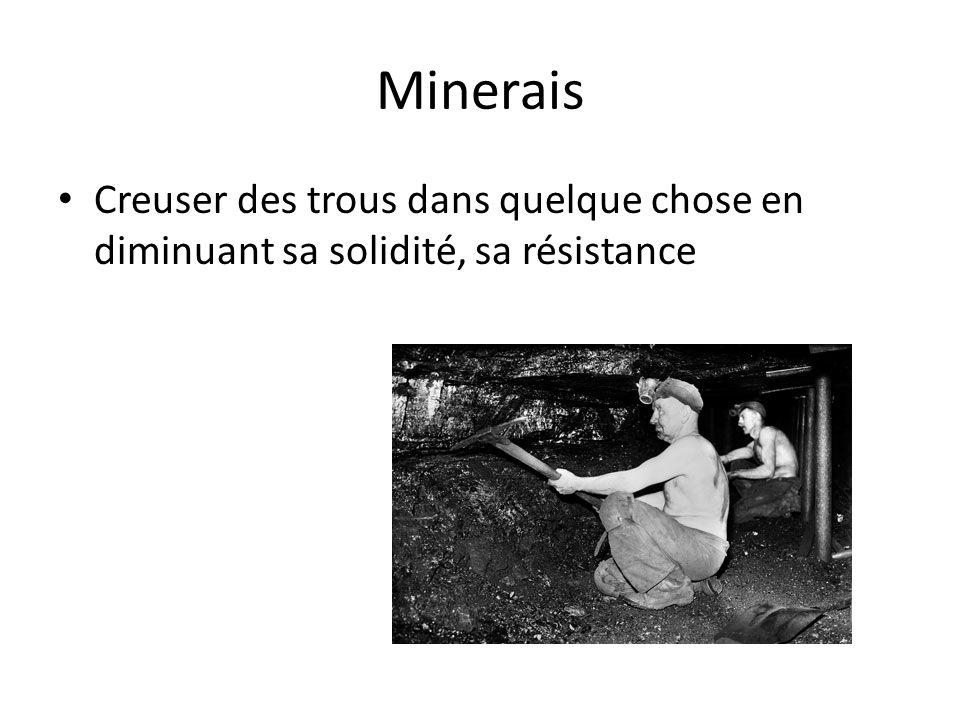 Minerais Creuser des trous dans quelque chose en diminuant sa solidité, sa résistance