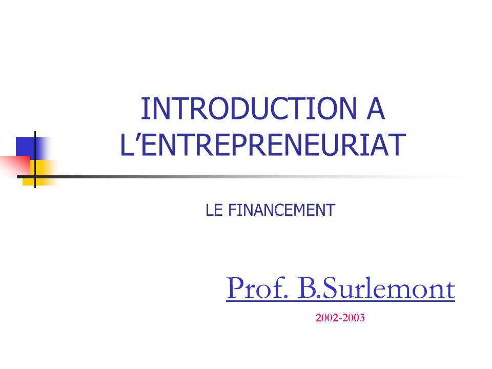 INTRODUCTION A L'ENTREPRENEURIAT Prof. B.Surlemont 2002-2003 LE FINANCEMENT