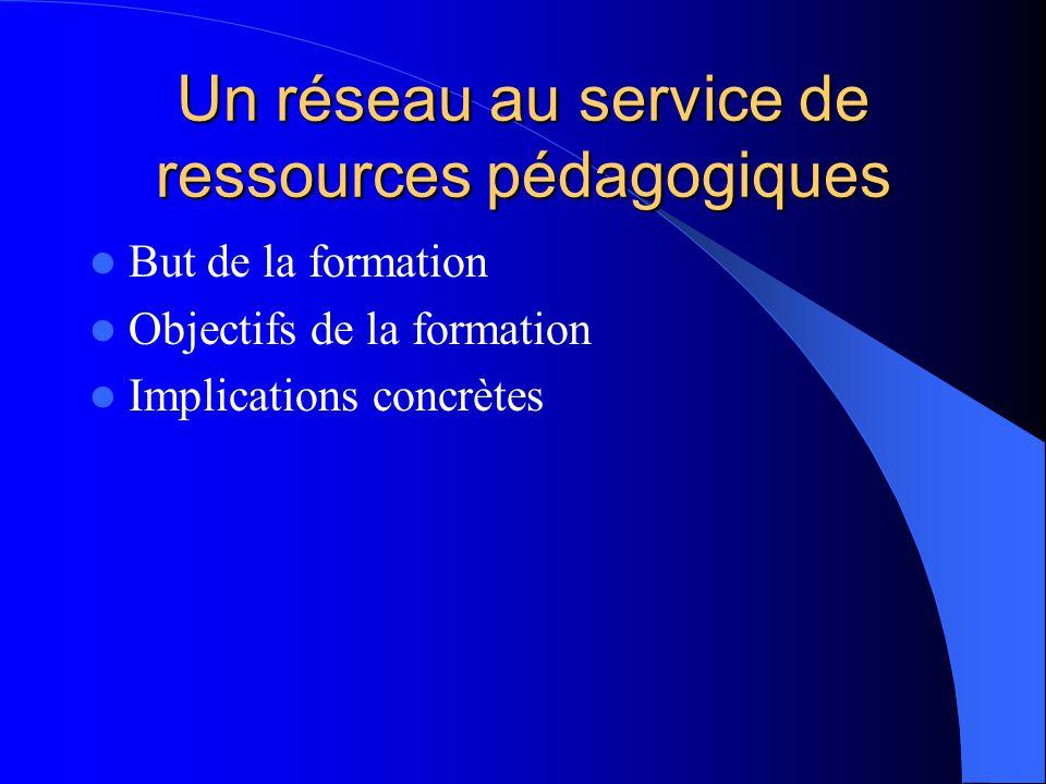 Un réseau au service de ressources pédagogiques But de la formation Objectifs de la formation Implications concrètes