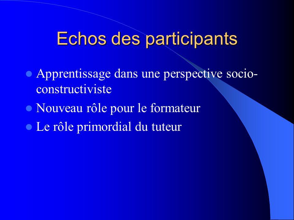 Echos des participants Apprentissage dans une perspective socio- constructiviste Nouveau rôle pour le formateur Le rôle primordial du tuteur
